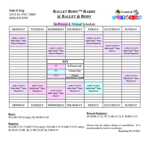 B&B Ballet BodyTM Barre Schedule revised
