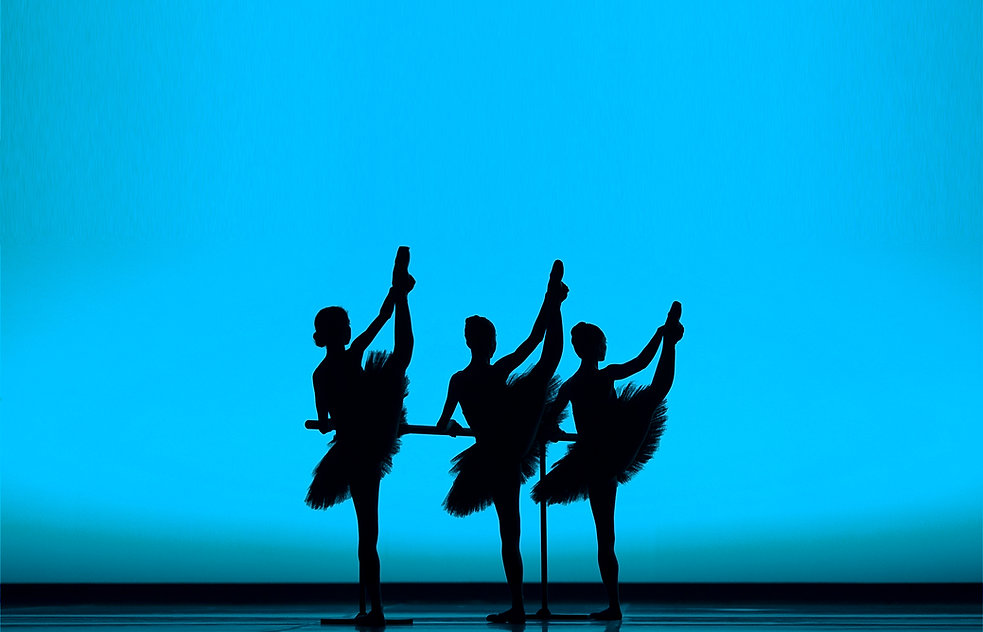 Ballet Dancers workout at the Barre