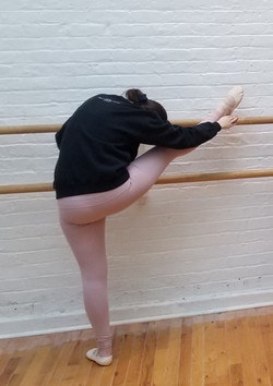 Ballet leg on the Barre stretch