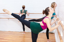 Grand Battement to the back in BBB Ballet Body (TM) Barre