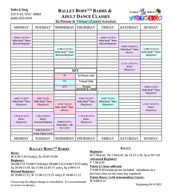 B&B Ballet & Body combined Adult Schedul