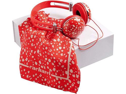 Подарочный набор: дизайнерские наушники, платок шелковый