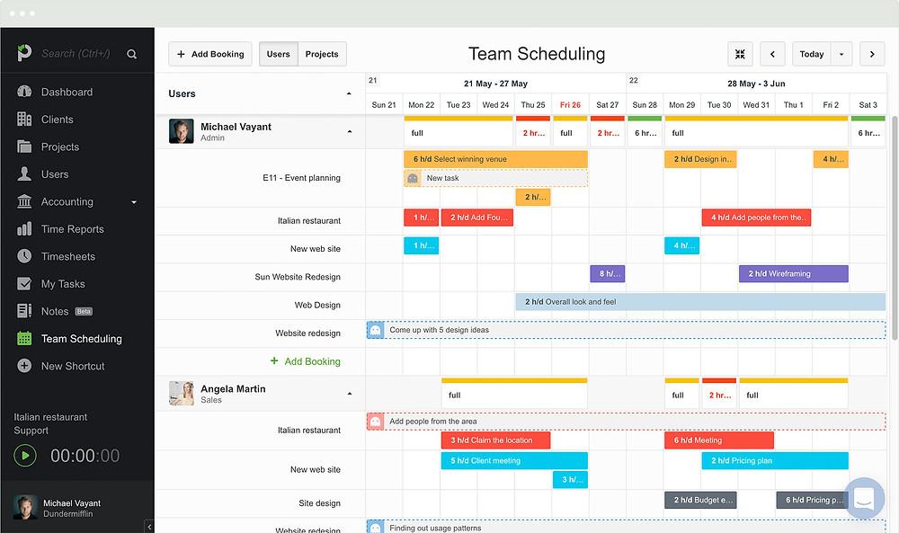 A screenshot from Paymo, an online project management software