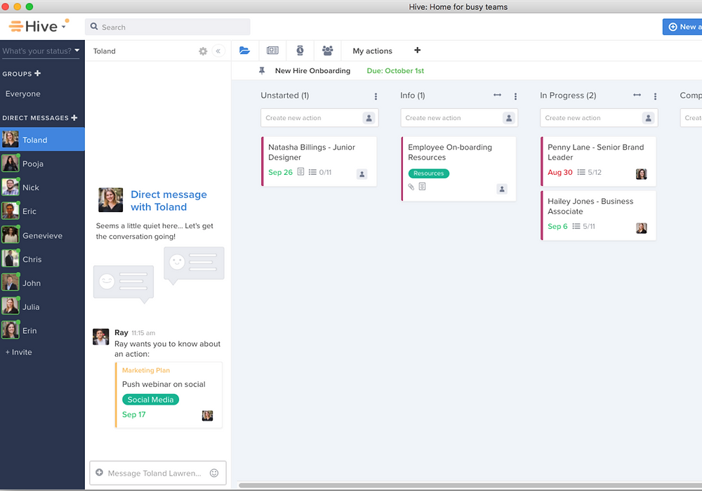 A screenshot from Hive, an online project management software
