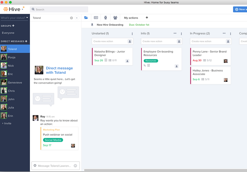 Hive screenshot, an online project management tool