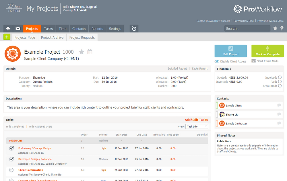 A screenshot from Proworkflow, an online project management software