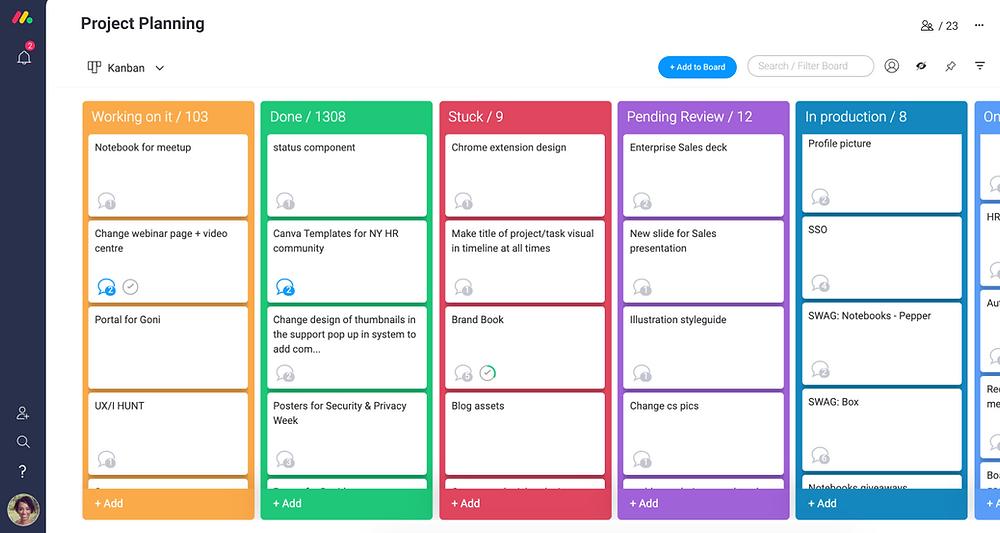 A screenshot from Monday, an online project management software