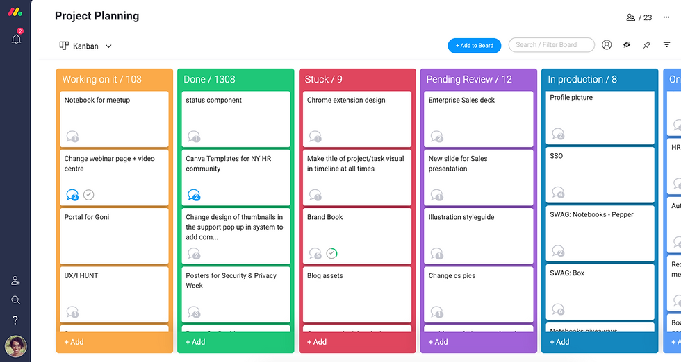 Monday screenshot, an online project management tool