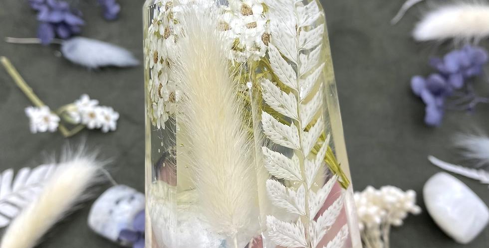 Large White Botanical Crystal w Rainbow Moonstone