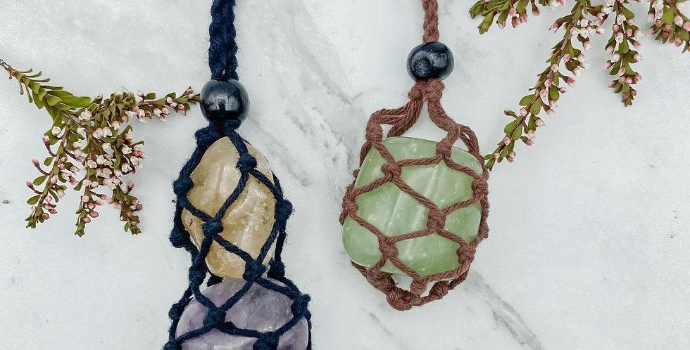 Macrame Crystal Holder Necklace