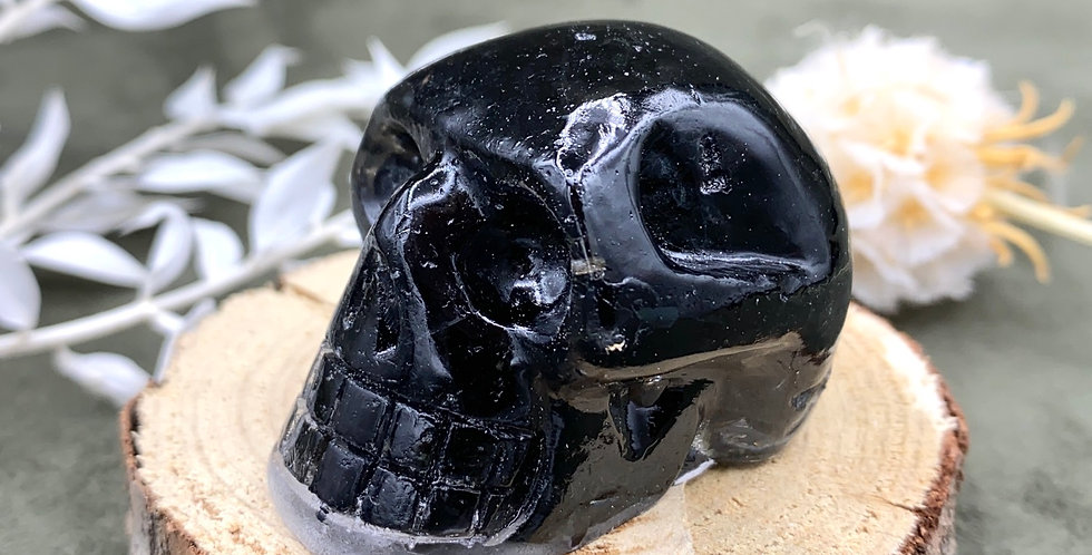 Black Tourmaline Mini Skull