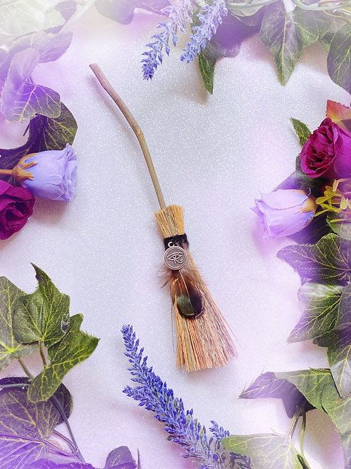 Mini Besom Broom with Eye of Horus Charm