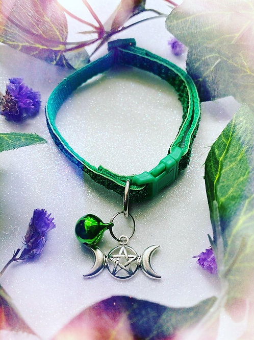 Triple Goddess Witches Familiar Collar-Green