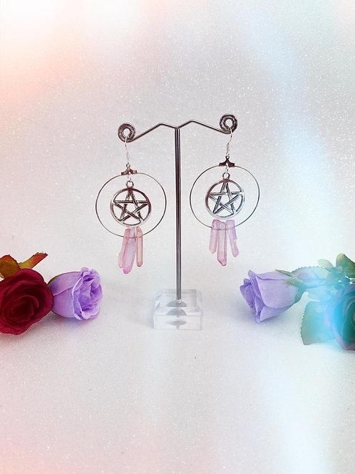 Pentacle Crystal Hoop Earrings - Pink