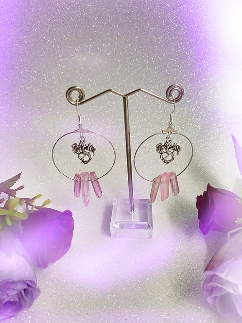 Dragon Crystal Hoop Earrings - Pink