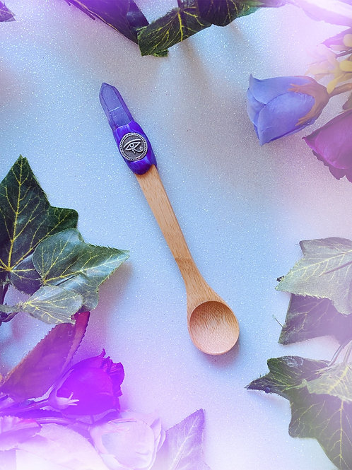 Bewitching Spoon with Purple Aura Quartz and Eye of Horus