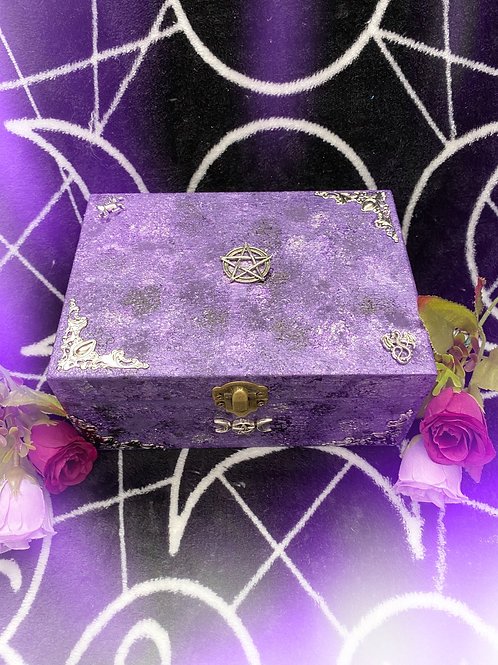 Purple Mythical Witch and Pentacle Altar Box