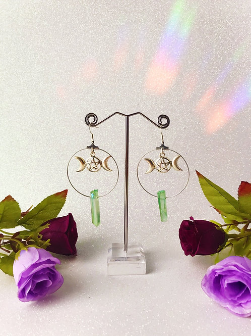 Triple Goddess Quartz Hoop Earrings - Green