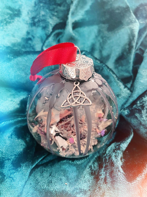 Triquetra Home Blessing Bauble - Red Ribbon