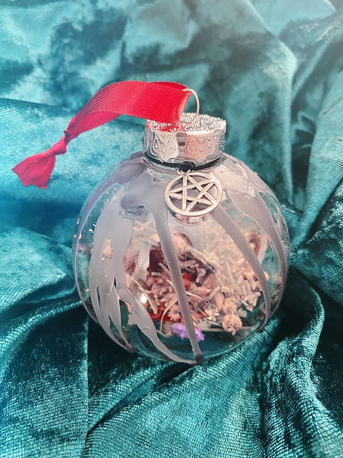 Pentacle Home Blessing Bauble - Red Ribbon