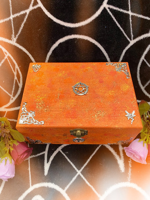 Orange Mythical Witch and Pentacle Altar Box