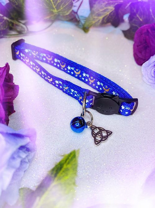Triquetra Witches Familiar Collar- Blue