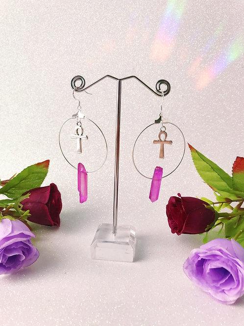 Ankh Crystal Hoop Earrings - Pink/Purple