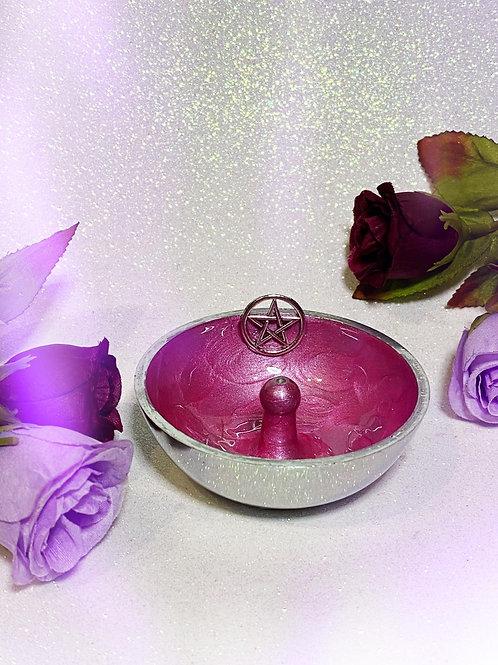 Pentacle Aluminium Incense Holder - Pink