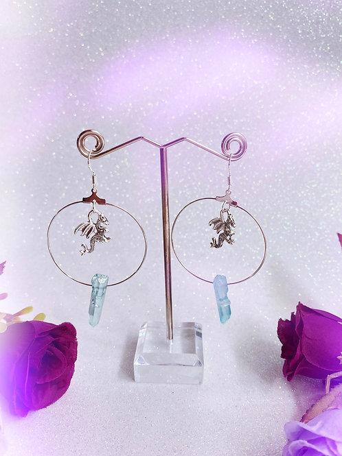 3D Dragon Crystal Hoop Earrings - Blue