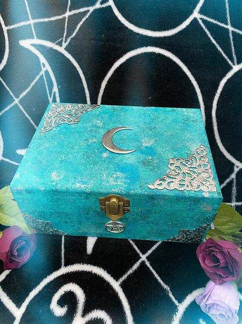 Aqua Lunar Witch Altar Box