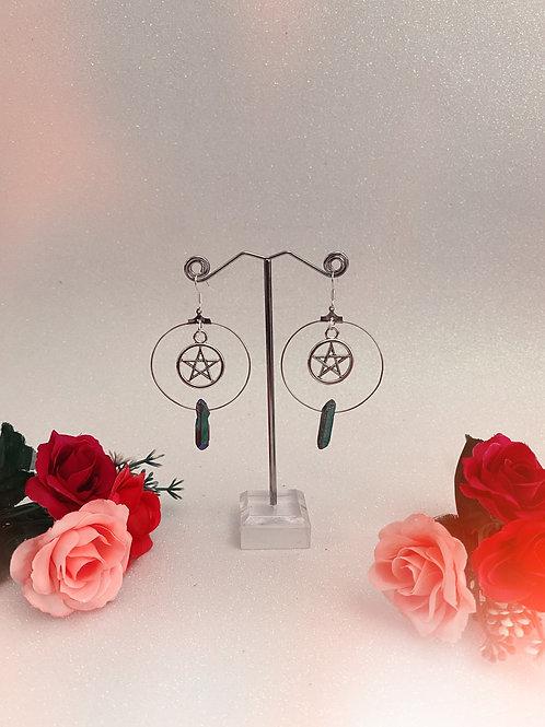 Pentacle Crystal Hoop Earrings - Rainbow