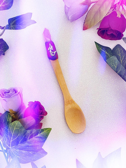 Bewitching Spoon with Pink Aura Quartz and Mermaid
