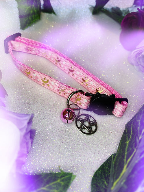 Pentacle Witches Familiar Collar- Pink