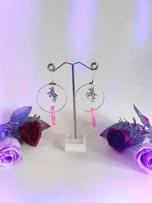 Unicorn Crystal Hoop Earrings -Pink Aura Quartz