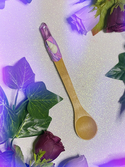 Bewitching Spoon with Purple Aura Quartz and Shell