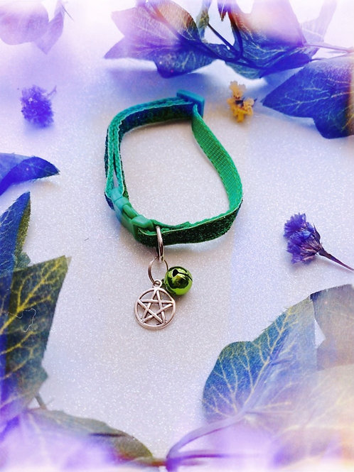 Pentacle Witches Familiar Collar- Green