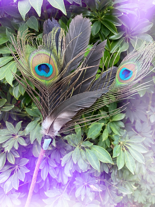 Feather Fan with Blue Titanium Quartz Crystal
