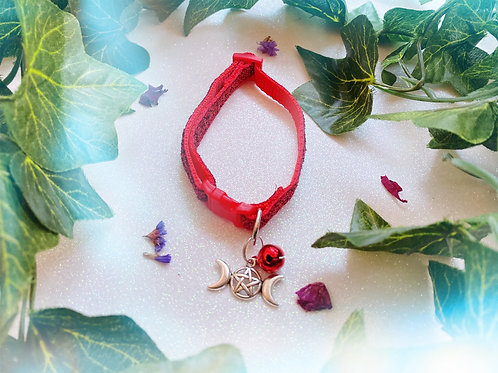Triple Goddess Witches Familiar Collar- Red
