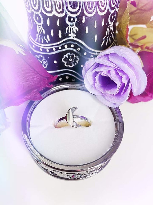 Crescent Moon Stainless Steel Ring