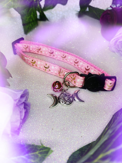 Triple Goddess Witches Familiar Collar-Pink