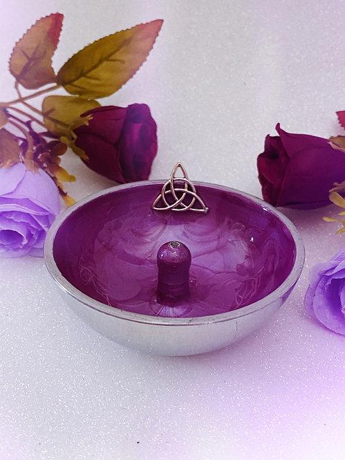 Triquetra Aluminium Incense Holder - Plum Purple
