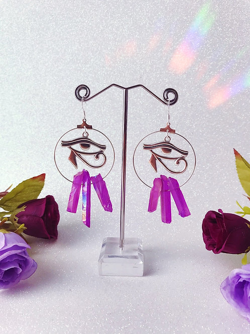 Eye of Horus Crystal Hoop Earrings- Pink/Purple Aura Quartz
