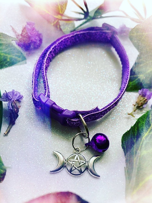 Triple Goddess Witches Familiar Collar-Purple