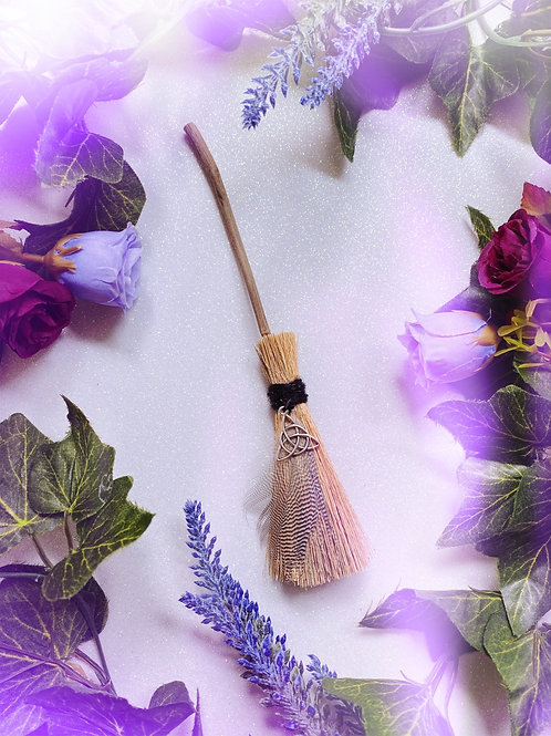 Mini Besom Broom with Triquetra Charm