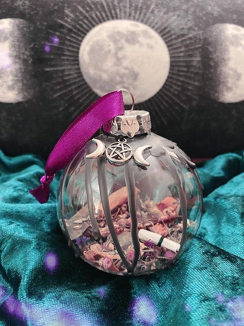 Triple Moon Home Blessing Bauble - Purple Ribbon