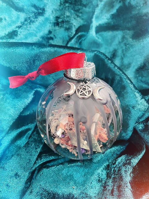 Triple Moon Home Blessing Bauble - Red Ribbon
