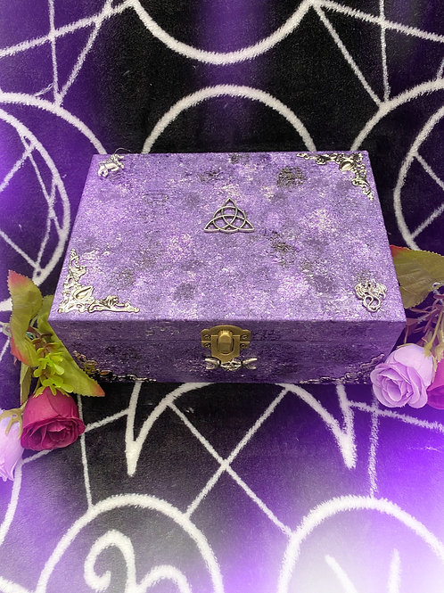 Purple Mythical Witch and Triquetra Altar Box