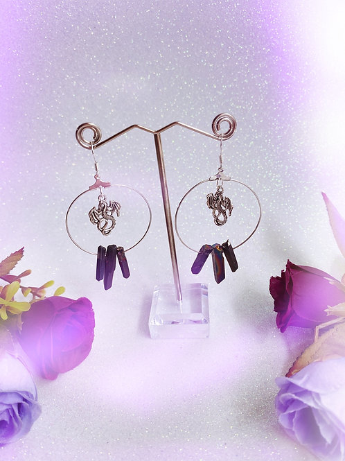 Dragon Crystal Hoop Earrings - Black