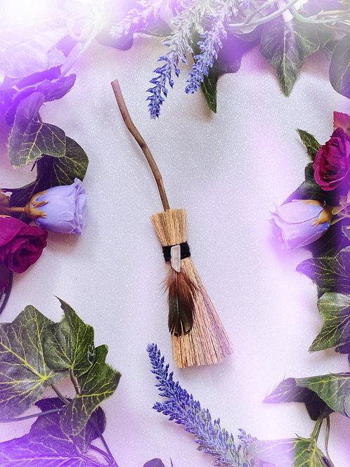 Mini Besom Broom with Clear Quartz Crystal