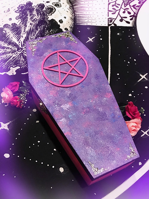 Pentacle Coffin Box- Purple & Pink